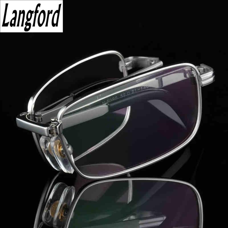 Giyim Aksesuarları'ten Gözlük Çerçeveleri'de Katlanır çerçeve titanyum gözlük çerçeveleri erkekler optik gözlük çerçeve okuma şeffaf gözlük reçete gözlük lensler altın 6090