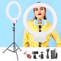 Neewer 18 inch White LED Ring Light with Light Stand Lighting Kit Dimmable 50W 3200K 5600K with Hot Shoe Adapter