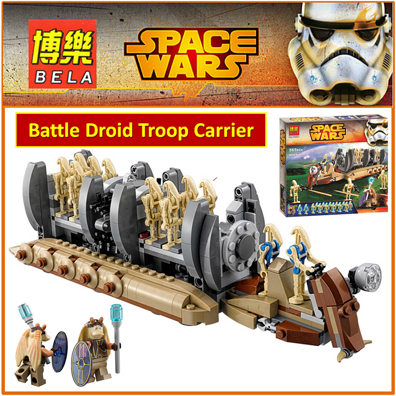 BELA Building Block 10374 Compatible Space Wars Figures Battle Droid Troop Carrier 75086 Model Educational Toy Children 2017 new 565pcs bela 10374 star wars battle droid troop carrier spaceship vessel cruiser jar binks blaster brinquedos leping