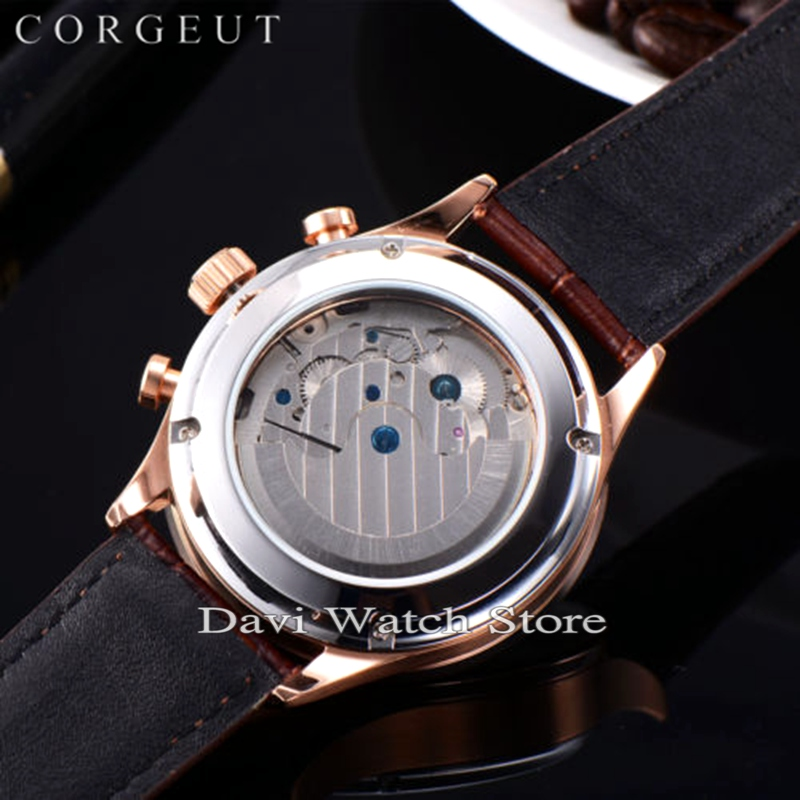 Corgeut 44mm Rvs Rose gold Case Maanfase Datum Dag Heren Automatische heren horloges - 4