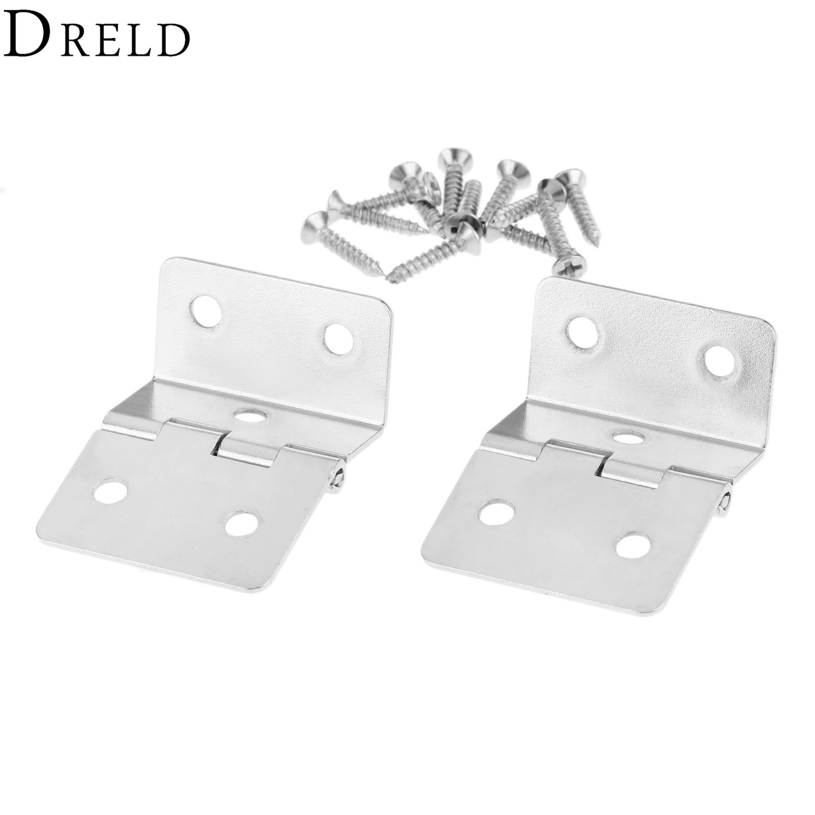 DRELD 2Pcs Kitchen Cabinet Door Folded Hinges Furniture Accessories 5 Holes Drawer Hinges for Jewelry Boxes Furniture Fittings 2pcs set stainless steel 90 degree self closing cabinet closet door hinges home roomfurniture hardware accessories supply