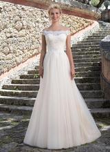 2017 Simple A Line Off Shoulder Lace Tulle Wedding Dresses robe de mariee White Ivory Bridal Wedding Gown Vestido De Noiva