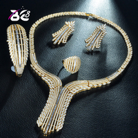 Be 8 New Exquisite Dubai Jewelry Set Luxury Big Nigerian Gold Color Wedding African Beads Jewelry Set Costume Design S229