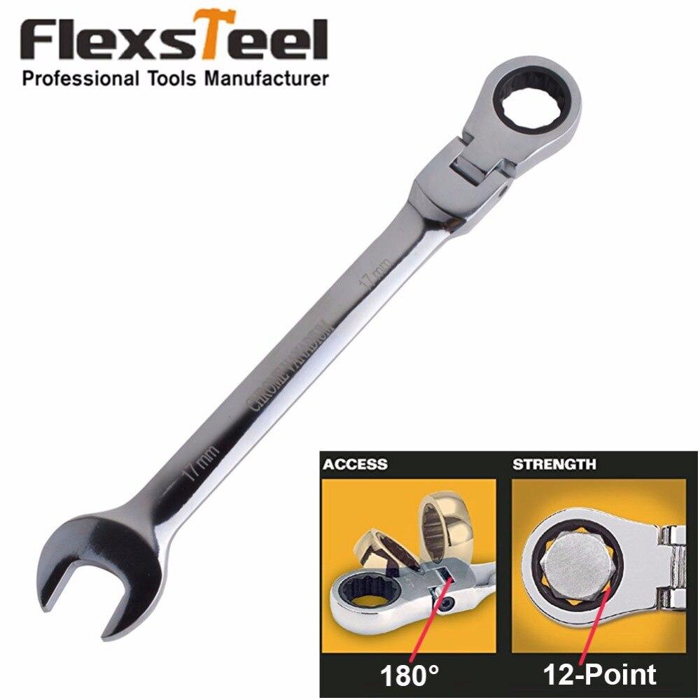 Flexsteel Flexible Head Ratchet Spanner, Flex-Head Ratcheting Combination Wrenches,Chrome Vanadium Steel,8-19mm