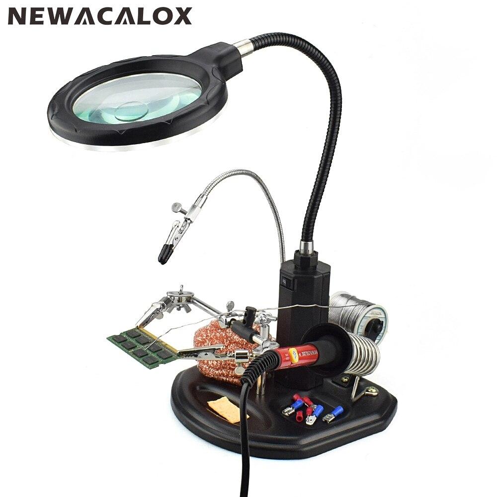 NEWACALOX 2.5X 4X LED USB Estação de Solda Ajudando Lupa Mão Lupa de Mesa Suporte de Reparo de Soldagem Ferramenta Auxiliar