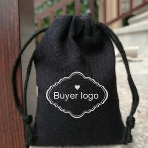 Image 5 - Bolsa de algodón negro para joyas, 8x10cm, 9x12cm, 10x15cm, 13x17cm, paquete de 50 bolsas de regalo para maquillaje, saco de caramelos de fiesta