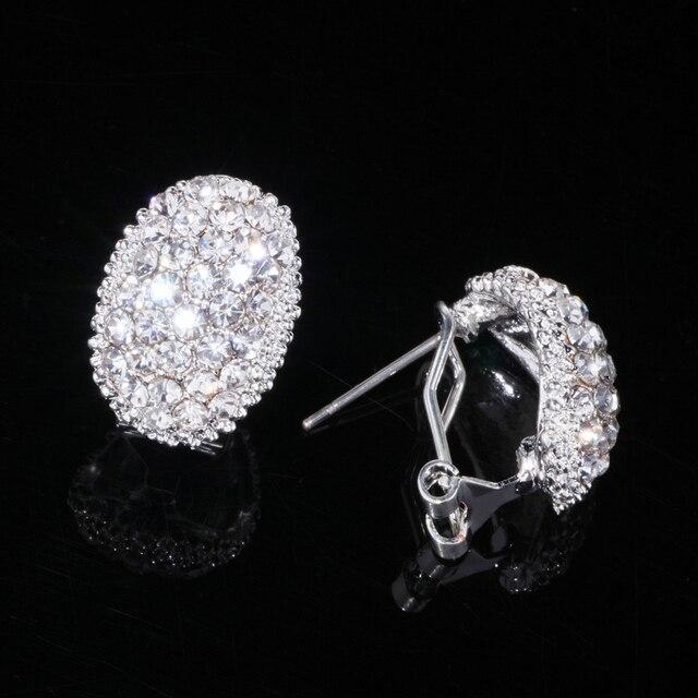 Classic Design Romantic Jewelry  Silver Color Zirconia Stone Stud Earrings Wedding Jewelry 2