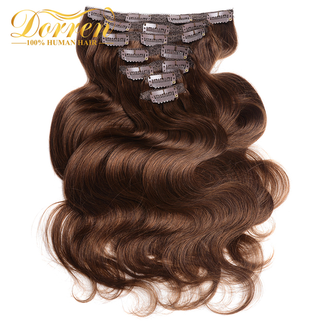 Doreen26inch Clip In Human Hair Extensions Body Wave 160G Thicker Chocolate Brown 10 Pieces/Set Brazilian Remy Hair Extensions