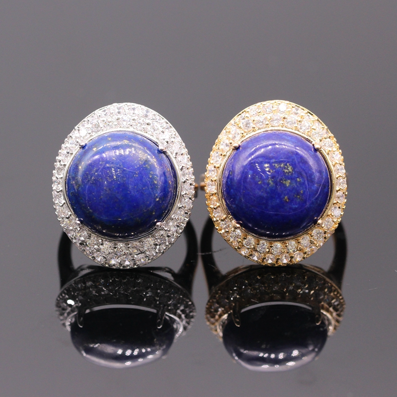 Simple Authority Champagne Gold Platinum Plated Natural Lapis lazuli Cubic Zircon Ring 2colors