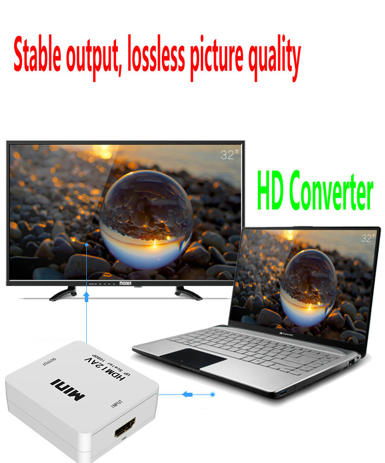 HD Video Converter hdmi to av hdmi to vga mini box VGA TO HDMI AV TO HDMI MINI BOX HDMI Adapter HD 720P 1080P in HDMI Cables from Consumer Electronics