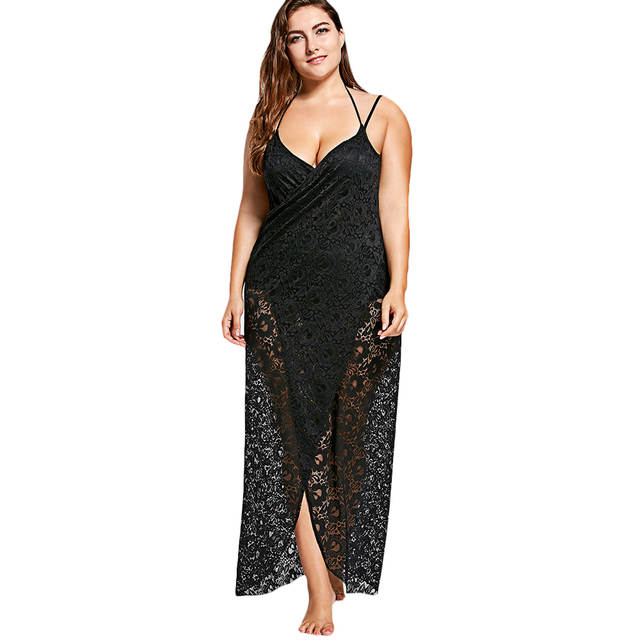45340579166f7 US $10.88 49% OFF|Wipalo Women Summer Beach Dress Plus Size 3XL Lace  Spaghetti Straps Wrap Up Dress Solid Cami Slip Long Cover Dress Vestido  Robes-in ...