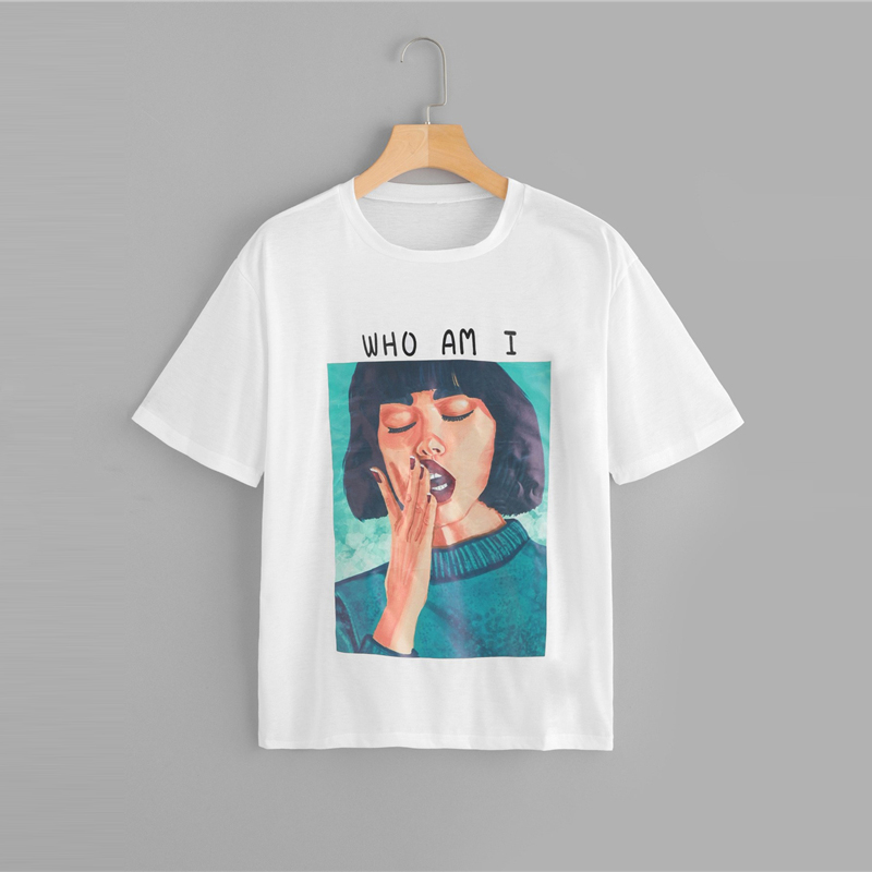 Letter & Lady Figure Print Round Neck T-Shirt