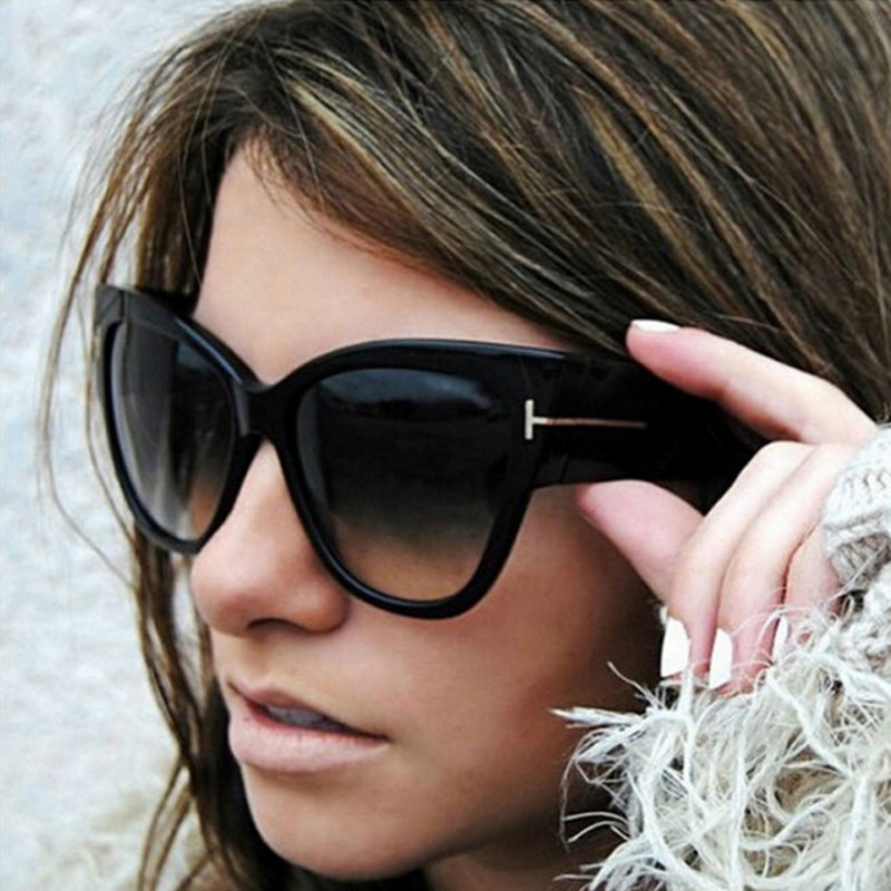Hot Sale High Quality Tom Sunglasses Vintage Women Brand Design Sunglasses Female Shade Cateye Sun Glasses Big Size Oversized