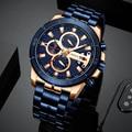CURREN Männer Sport Quarzuhr Mode Blau Edelstahl Business herren Uhren Top Marke Wasserdichte Chronograph Männlichen Uhr-in Quarz-Uhren aus Uhren bei