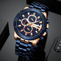 CURREN Men Sport Quartz Watch Fashion Blue Stainless Steel Business Men's Watches Top Brand Waterproof Chronograph Male Clock