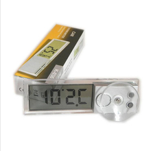 Automobile Car Clock Thermometer Sucker Type Transparent LCD Digital Watch 10 button Cell Battery Styling