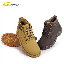 Free Shipping-Laynos Men Leather Breathable Non-slip Damping High Sneakers Cross-country Outdoor Climbing Shoes 157D293A