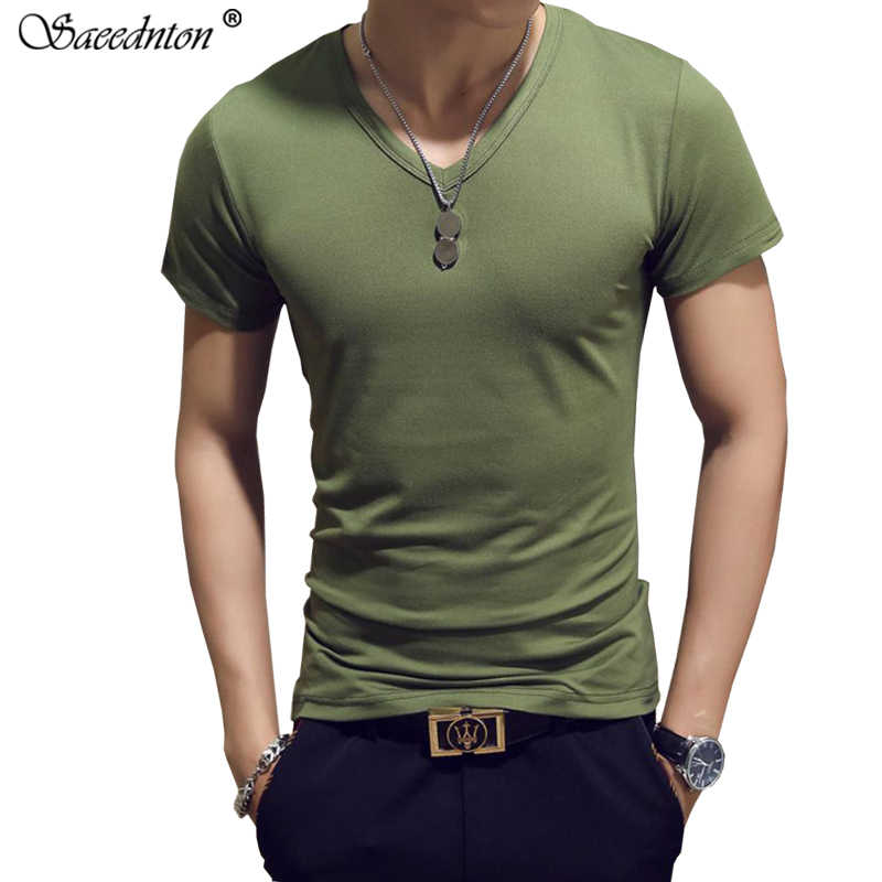 T Shirt For Men 2019 Summer New Men's Casual Cotton Short Sleeve Solid T-shirts Homme V Collar Tops Tees Clothing Slim Tshirts