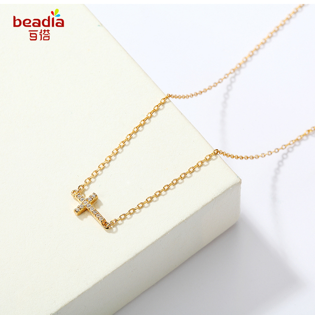 Super Cool Gold Color Small Cross Rhinestone Pendant Women Necklace