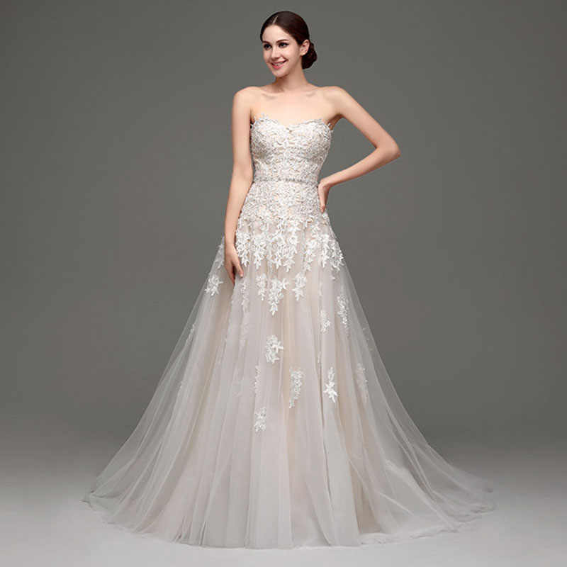 ebd84217ab 2019 New Fashion A Line Wedding Dresses Sweetheart Strapless Tulle with  Lace Applique Bridal Wedding Gown