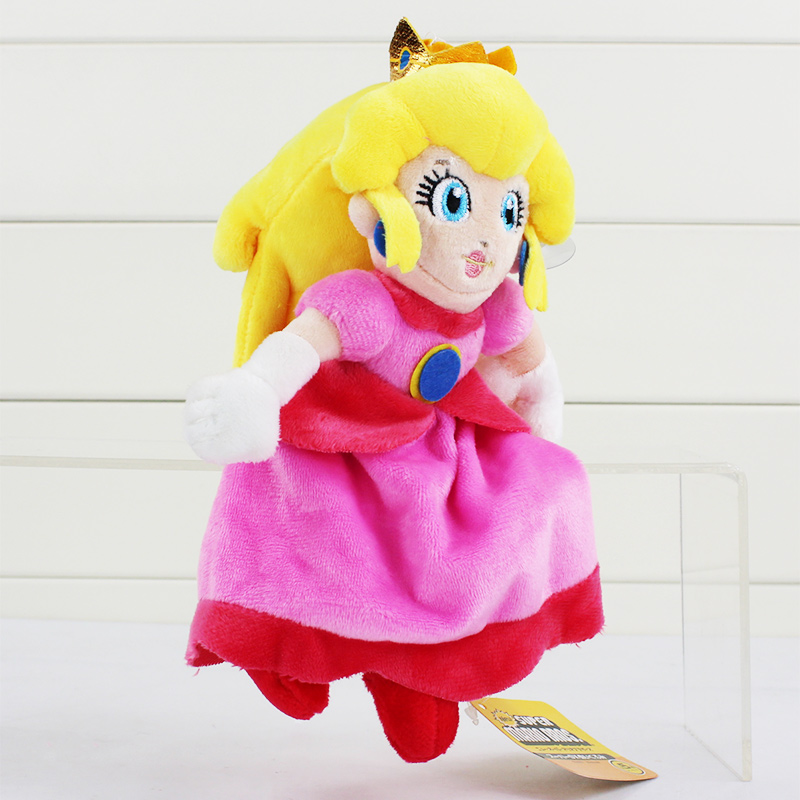 Super Mario Bros Princess Peach Plush Doll Stuffed Kids Toys 20cm 20cm super mario bros monkey donkey kong soft stuffed plush toys dolls kids gifts