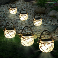 Thrisdar 3PCS Mason Jar Solar Garden Fairy Light Retro Outdoor Hanging Lanterns Ball Light For Garden