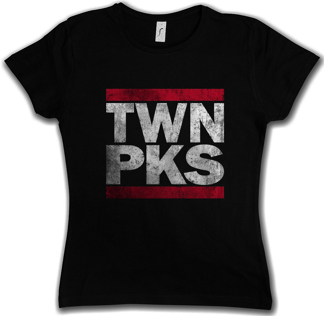 Short sleeve t shirt TWN PKS WOMEN T-SHIRT Twin Letters DMC Peaks Fun Shirt Dale Bartholomew