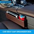 Asiento de coche del cuero de la grieta caja de almacenamiento multi-propósito de brecha organizadores llevar bolsillo coche de asiento tienda caja de contenido negro