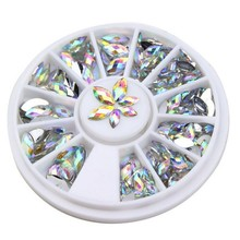 1 Wheel Nail Rhinestones 3*6mm 4*8mm 3D Flat Back AB Color Horse Eye Crystal Gem DIY Art Tips Decoration ZP-01