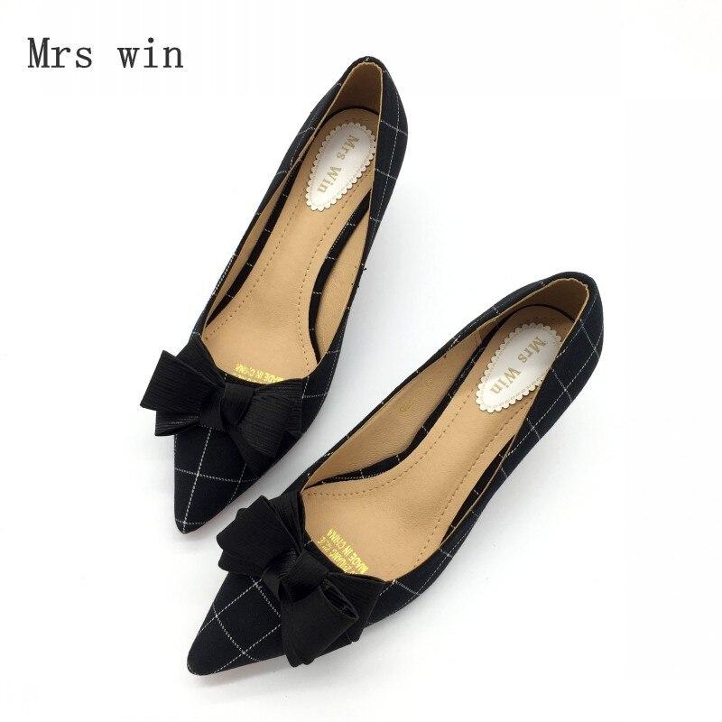 Printemps Haute Simples Chaussures on Bowtie Mode grey Automne Plaid Femmes Black Pompes Slip Mujer Dames Talon Zapatos Xnn7AUxq