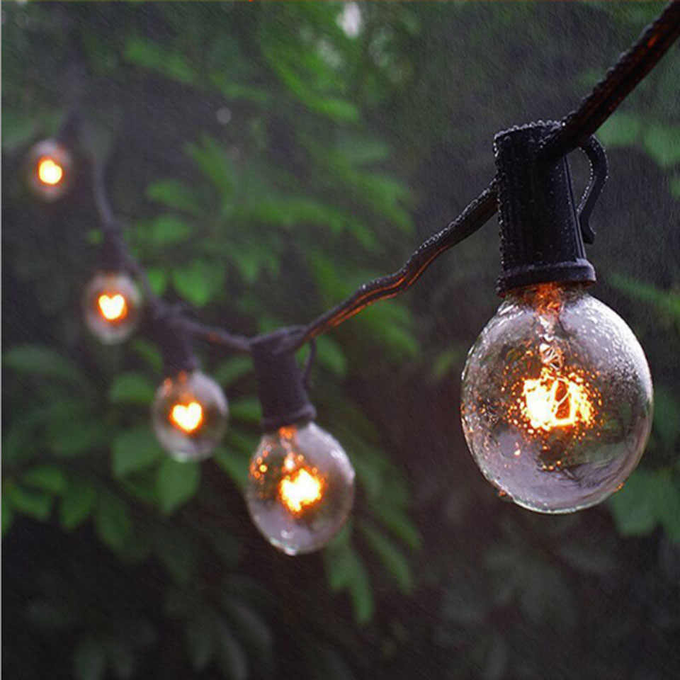 25Ft G40 Globe Bulb String Lights with 25 Clear Ball Vintage Bulb Indoor/Outdoor Hanging Umbrella Patio String Lighting Fixtures
