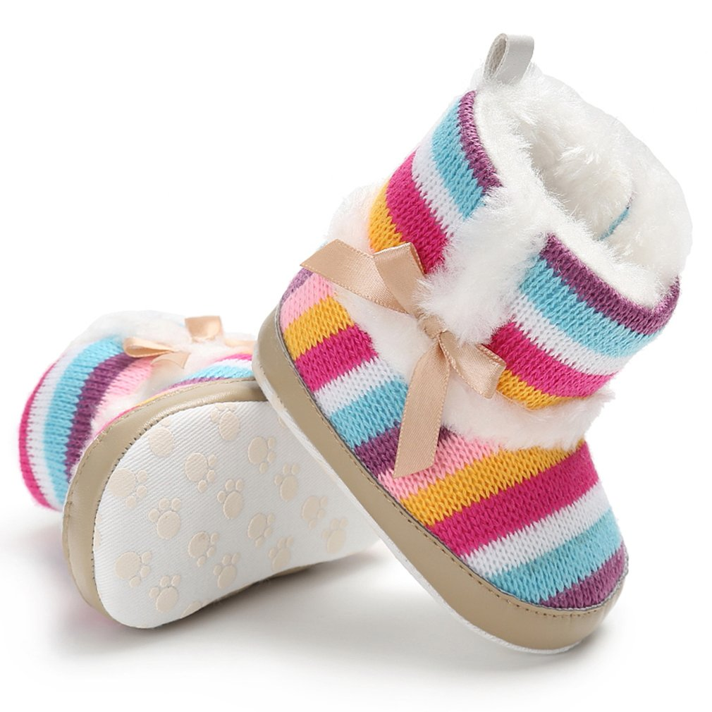 Rainbow Stripes Baby Boots Shoes Winter Warm Color Stripes Baby Toddler  Woolen Boot Cotton Boots for Baby Learning Walk Shoes-in Boots from Mother    Kids on ... 5cf4c085d78e