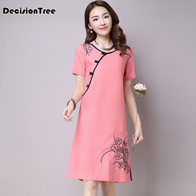 2019 new chinese traditional dress qipao women cheongsam chinese style female embroidery short sleeve chinese oriental dress