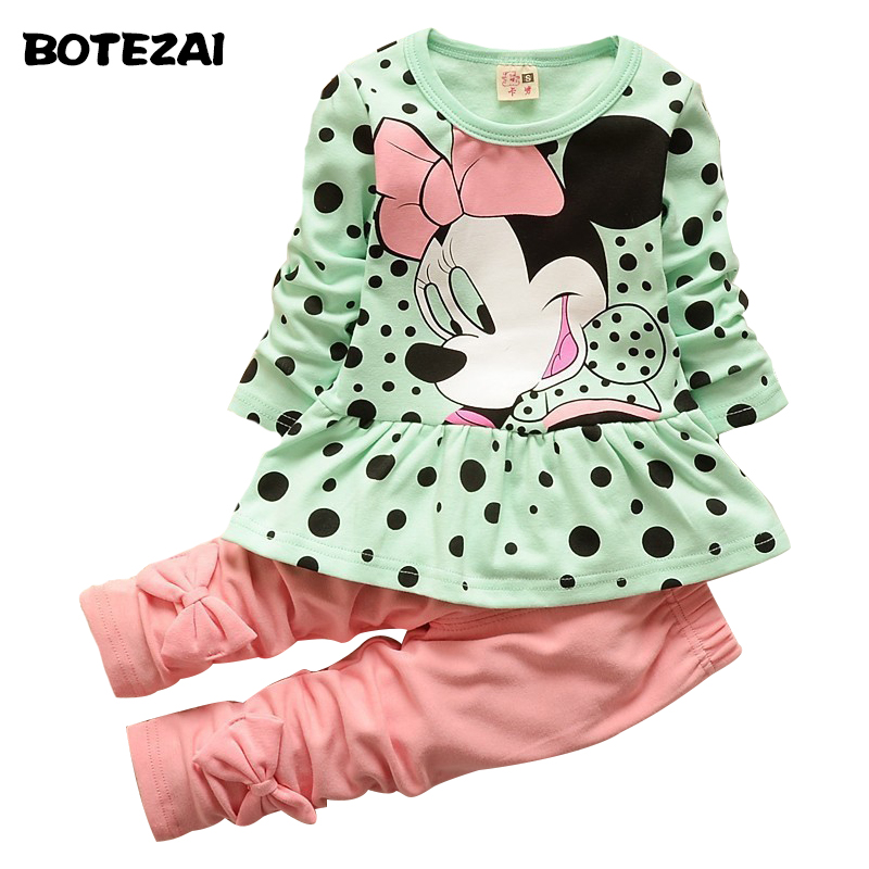 Fashion baby Cartoon clothing Suits Girls Minnie clothes kids cotton shirts pants 2pcs Children Clothing leggings Set cotton cartoon t shirts