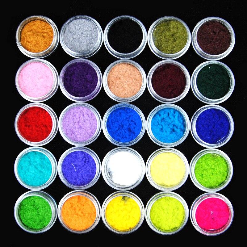 Hot 25 Colors Velvet Flocking Dust Powder Set Decoration Polish Nail Art Tip Design Cheap Nail Polish Nail Pigment Powder bk bk 03 flocking velvet manicure art polish nail powder white