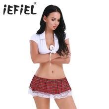 18c62701a8 iEFiEL Women Sexy 2PCS Girls Lingerie School Girls Cosplay Uniform Crop Top  with Plaid Skirt Sets
