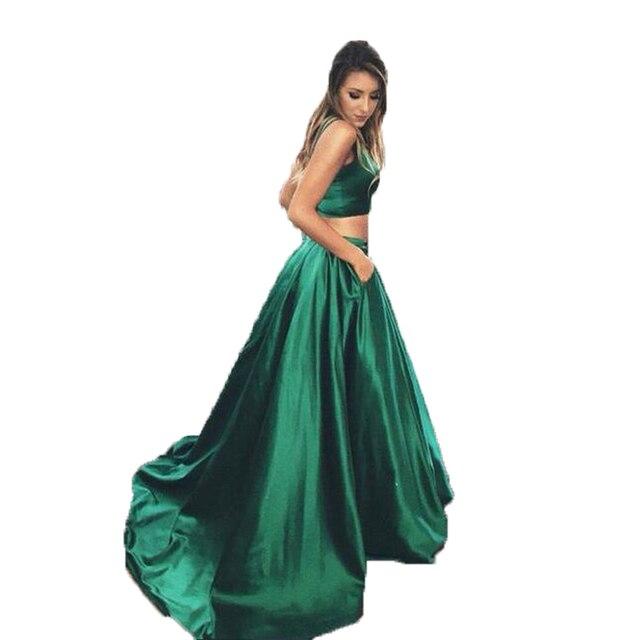 a9c112ce9 € 32.68 8% de DESCUENTO Faldas largas de color verde esmeralda para mujer  longitud del piso satén sólido cintura alta elegante Maxi Falda plisada ...
