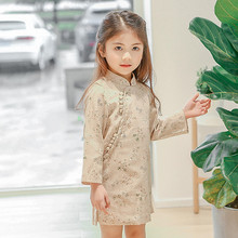 DFXD Baby Long Sleeve Dress 2018 Spring New Chinese Style Cotton Flower Print Cheongsam Little Girls Dresses Kids Costumes 2-8Y 2018 autumn new arrival girls chinese style cheongsam kids girls long sleeve crane print dresses surplice qipao clothes years