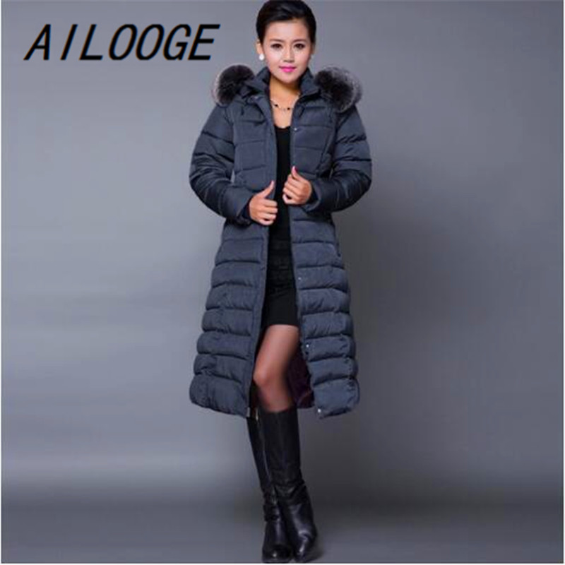 AILOOGE Maxi Winterjas 2017 Nieuwe Casual Plus Size Winter Jasje Vrouwen Dikke X Lange Katoen Parka Casaco Feminino - 2