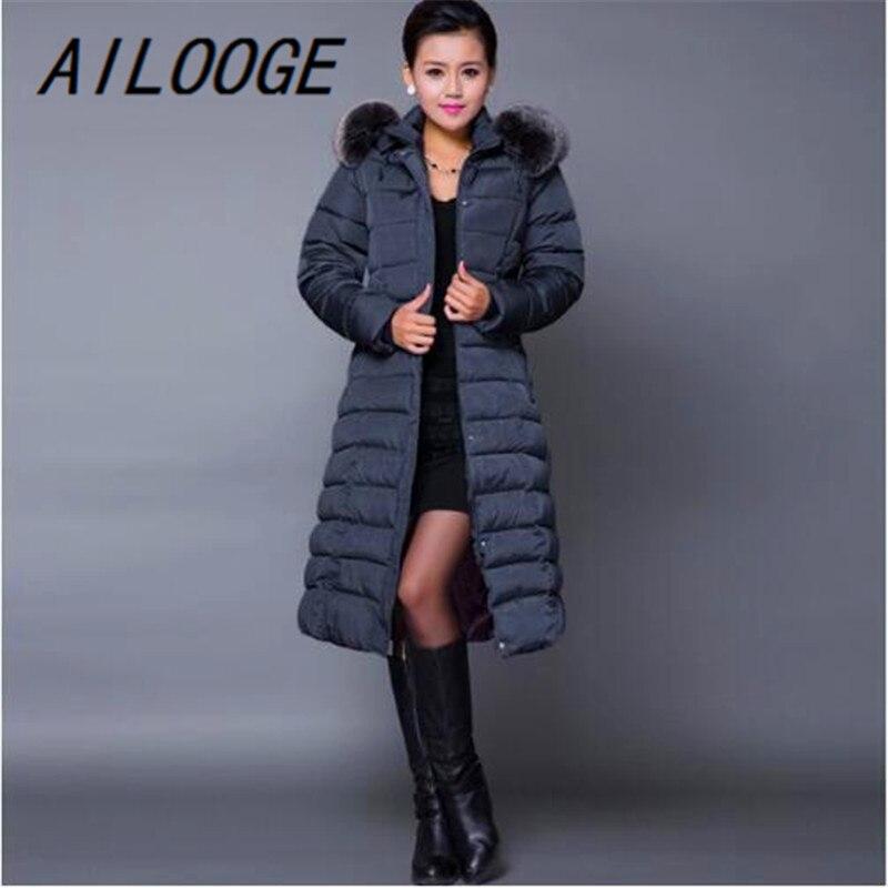 Ailooge Макси зимнее пальто Новинка 2017 года Повседневное плюс Размеры зимняя куртка пальто Для женщин толщиной х длинные хлопковые парки casaco ... - 2