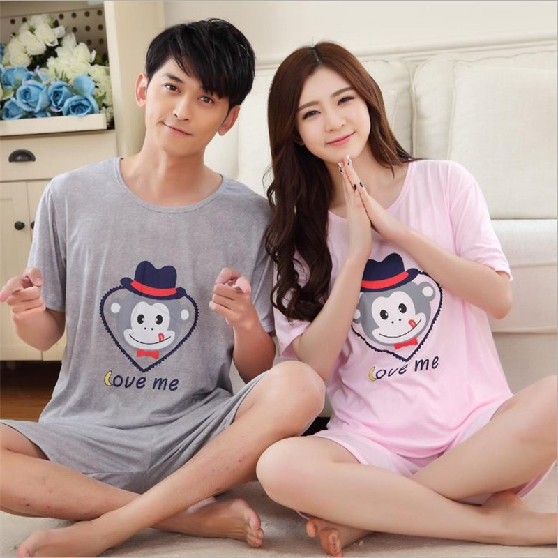 2017 Summer Newest Men/Women fashion Character printing Round Neck Short sleeved shorts Sleepwear Couple Leisure Pajamas stes