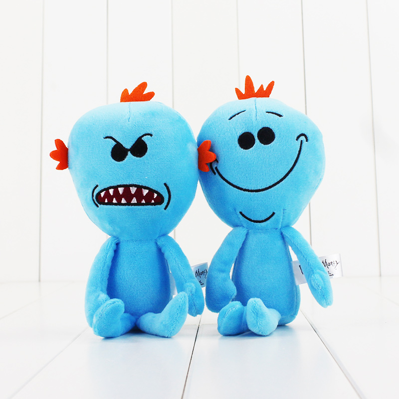 23cm Rick and Morty scientific cartoon cute Mr. Meeseeks happy and angry face plush doll Q stuffed soft dolls good gift for kids funny emoji cartoon face plush toys keychain pendant cute soft stuffed qq mini dolls round smile keyring gift
