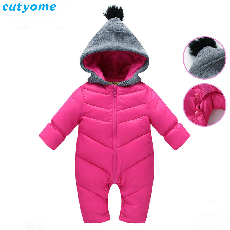 Cutyome Winter Newborn Baby Down Rompers Hooded Long Sleeve Warm Jumpsuits For Infant Kids Boys Girl Christmas Thick Clothes baby girl rompers 100% cotton overalls autumn winter kids long sleeve jumpsuits newborn infantil boys clothes baby costume bebes