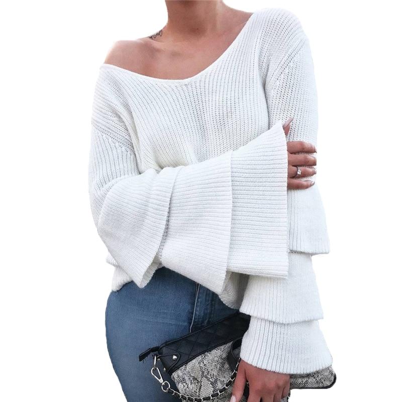 Blanco Suéter de Punto Mujer Otoño Invierno 2017 de Las