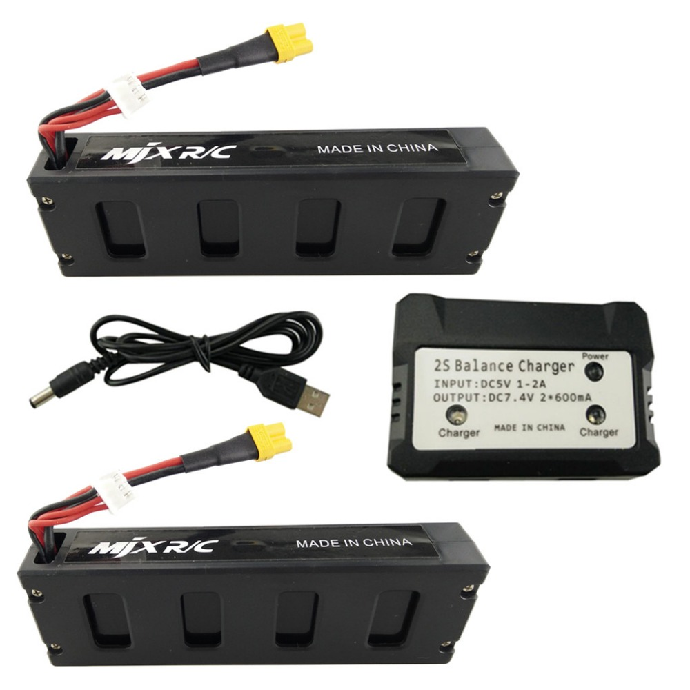 Remote control aircraft UAV small monster MJX B3 battery 2PCS 7.4V 1800mAh lithium battery and 2 in 1 charger XT30 four axis aircraft lithium battery accessories for udi u842 u842 1 u818s helicopter 3pcs battery and 6 in 1 charger