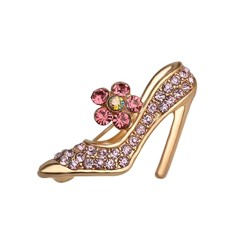 Retro Jewelry Brooch Lapel High-heeled Shoes Alloy Brooches Country-Style Red Crystal Brooch Safety Pins Women Accessorie