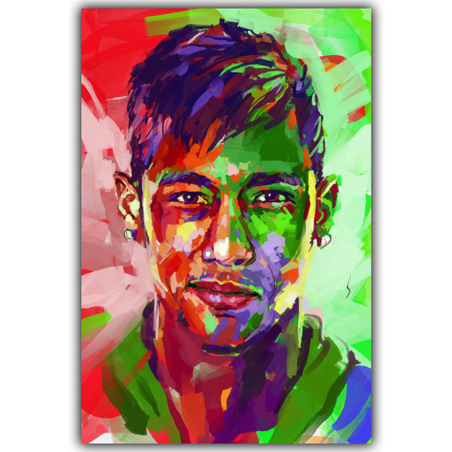 Neymar At Poster Art Silk Wallpaper 3 Size Soccer Posters Home Decoration YD217