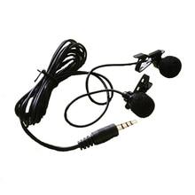 Двойной Зажим-на Нагрудные Петличный Микрофон 3.5 мм Разъем громкой Мини-Проводной Конденсаторный Микрофон для Смартфонов ПК ноутбук