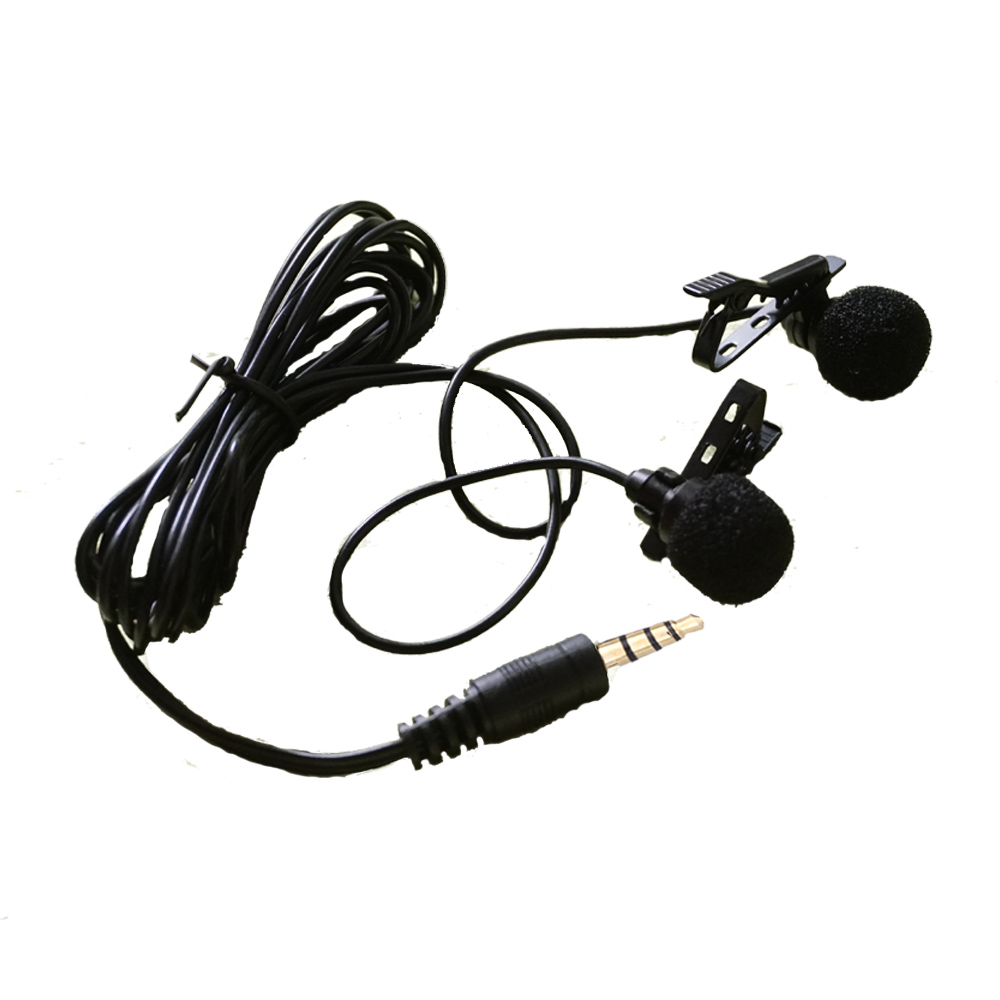 TGETH Double Clip-on Lapel Lavalier Microphone 3.5mm Jack Hands-free Mini Wired Condenser Microphone for Smartphones PC Laptop