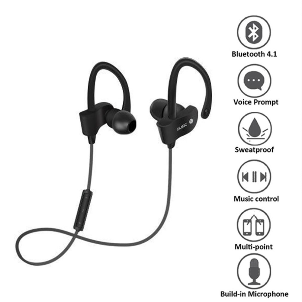 Wireless Bluetooth Sports Headset Universal Sweat-proof Stereo In-Ear Earphones with Microphone for Smart Phones new arrival awei a840bl wireless sports bluetooth 4 sweat proof for iphone android mp3 mp4 ipad ipod with microphone